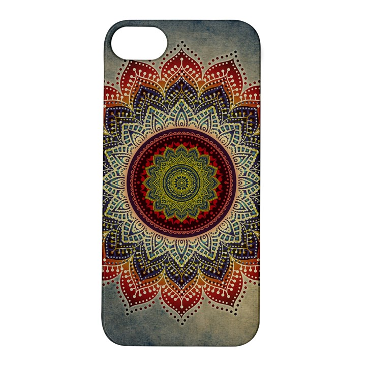 Folk Art Lotus Mandala Dirty Blue Red Apple iPhone 5S/ SE Hardshell Case