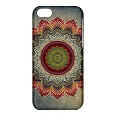 Folk Art Lotus Mandala Dirty Blue Red Apple Iphone 5c Hardshell Case