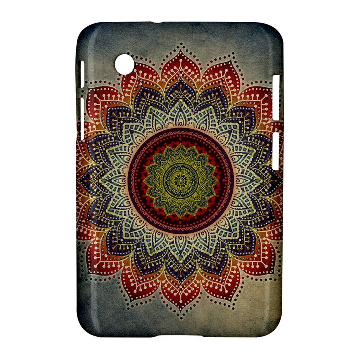 Folk Art Lotus Mandala Dirty Blue Red Samsung Galaxy Tab 2 (7 ) P3100 Hardshell Case