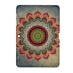 Folk Art Lotus Mandala Dirty Blue Red Samsung Galaxy Tab 2 (10.1 ) P5100 Hardshell Case