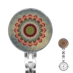 Folk Art Lotus Mandala Dirty Blue Red Stainless Steel Nurses Watch
