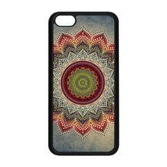Folk Art Lotus Mandala Dirty Blue Red Apple Iphone 5c Seamless Case (black)