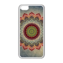 Folk Art Lotus Mandala Dirty Blue Red Apple iPhone 5C Seamless Case (White)