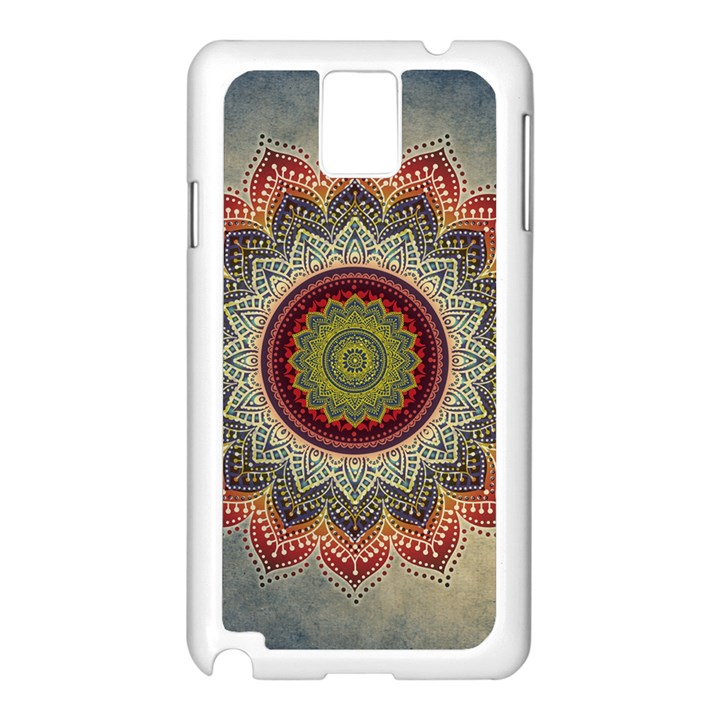Folk Art Lotus Mandala Dirty Blue Red Samsung Galaxy Note 3 N9005 Case (White)