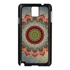 Folk Art Lotus Mandala Dirty Blue Red Samsung Galaxy Note 3 N9005 Case (black)