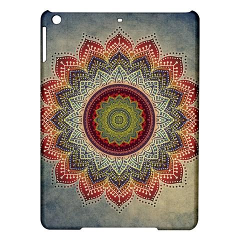 Folk Art Lotus Mandala Dirty Blue Red iPad Air Hardshell Cases