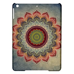 Folk Art Lotus Mandala Dirty Blue Red iPad Air Hardshell Cases