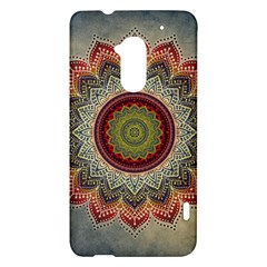 Folk Art Lotus Mandala Dirty Blue Red HTC One Max (T6) Hardshell Case