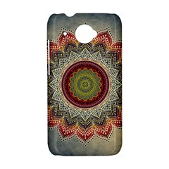 Folk Art Lotus Mandala Dirty Blue Red HTC Desire 601 Hardshell Case