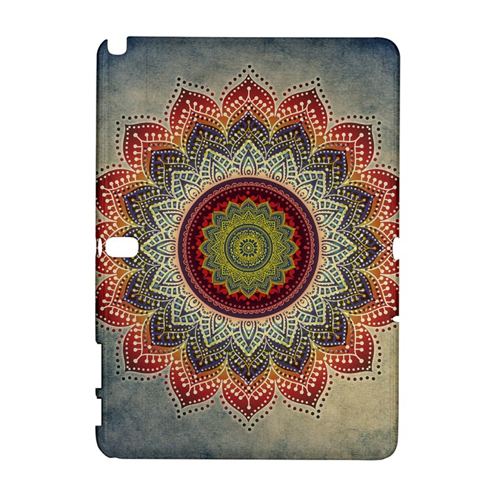 Folk Art Lotus Mandala Dirty Blue Red Samsung Galaxy Note 10.1 (P600) Hardshell Case