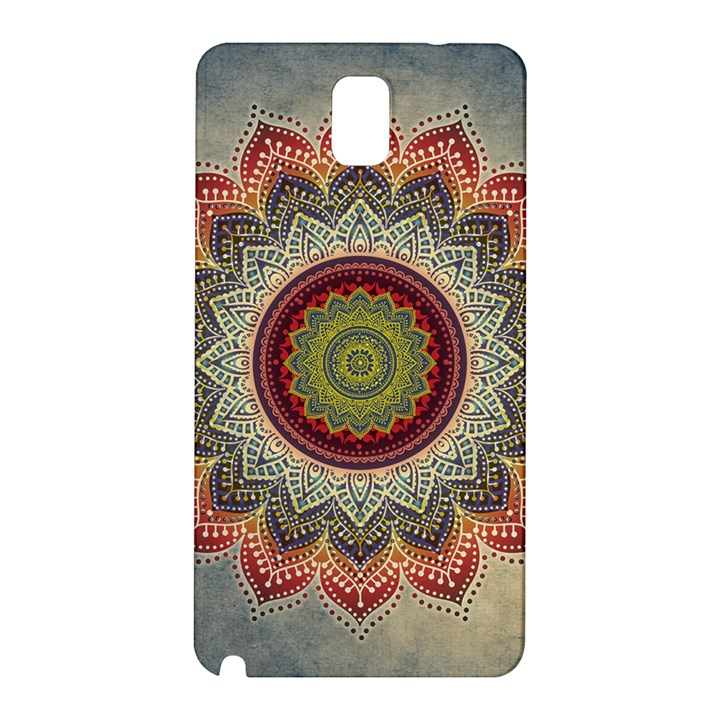 Folk Art Lotus Mandala Dirty Blue Red Samsung Galaxy Note 3 N9005 Hardshell Back Case