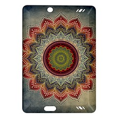 Folk Art Lotus Mandala Dirty Blue Red Amazon Kindle Fire HD (2013) Hardshell Case