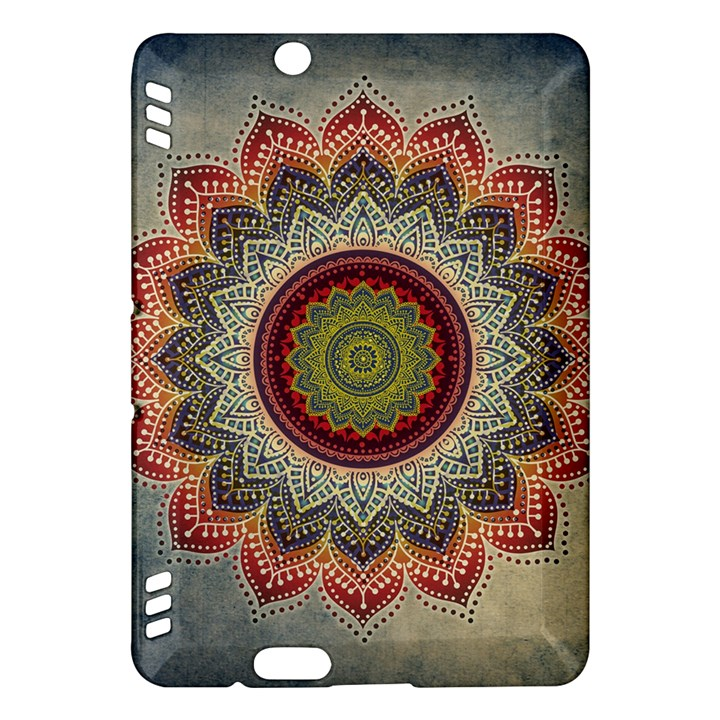 Folk Art Lotus Mandala Dirty Blue Red Kindle Fire HDX Hardshell Case