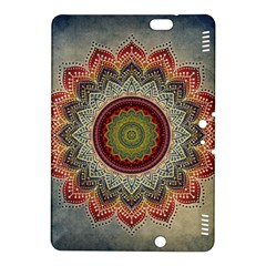 Folk Art Lotus Mandala Dirty Blue Red Kindle Fire Hdx 8 9  Hardshell Case