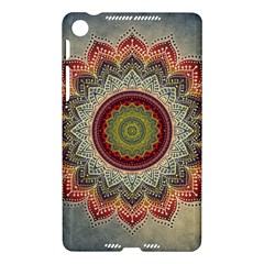 Folk Art Lotus Mandala Dirty Blue Red Nexus 7 (2013)