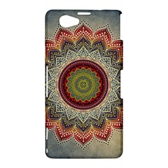 Folk Art Lotus Mandala Dirty Blue Red Sony Xperia Z1 Compact