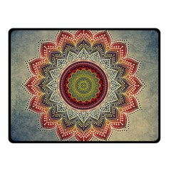 Folk Art Lotus Mandala Dirty Blue Red Double Sided Fleece Blanket (small)