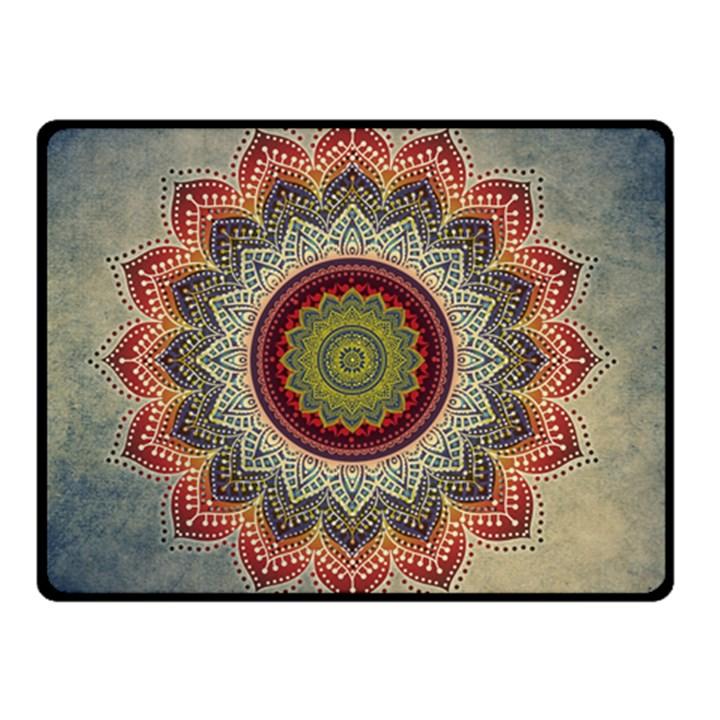 Folk Art Lotus Mandala Dirty Blue Red Double Sided Fleece Blanket (Small)