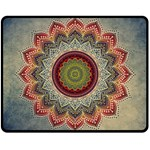 Folk Art Lotus Mandala Dirty Blue Red Double Sided Fleece Blanket (Medium)  60 x50 Blanket Front