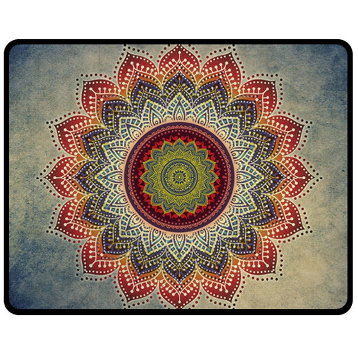 Folk Art Lotus Mandala Dirty Blue Red Double Sided Fleece Blanket (Medium)