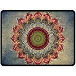 Folk Art Lotus Mandala Dirty Blue Red Double Sided Fleece Blanket (Large)  80 x60 Blanket Front