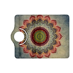 Folk Art Lotus Mandala Dirty Blue Red Kindle Fire HD (2013) Flip 360 Case