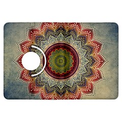 Folk Art Lotus Mandala Dirty Blue Red Kindle Fire Hdx Flip 360 Case