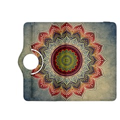 Folk Art Lotus Mandala Dirty Blue Red Kindle Fire Hdx 8 9  Flip 360 Case