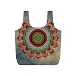 Folk Art Lotus Mandala Dirty Blue Red Full Print Recycle Bags (S)  Front
