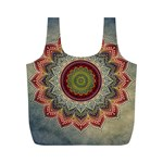 Folk Art Lotus Mandala Dirty Blue Red Full Print Recycle Bags (M)  Back