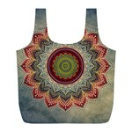 Folk Art Lotus Mandala Dirty Blue Red Full Print Recycle Bags (L)  Back