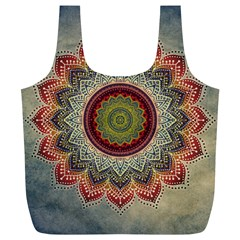 Folk Art Lotus Mandala Dirty Blue Red Full Print Recycle Bags (L)