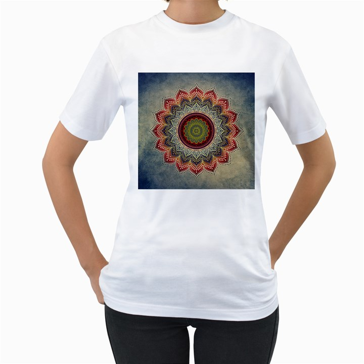 Folk Art Lotus Mandala Dirty Blue Red Women s T-Shirt (White)