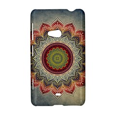 Folk Art Lotus Mandala Dirty Blue Red Nokia Lumia 625