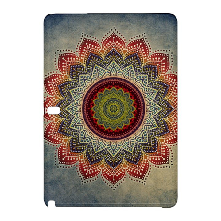 Folk Art Lotus Mandala Dirty Blue Red Samsung Galaxy Tab Pro 10.1 Hardshell Case
