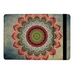 Folk Art Lotus Mandala Dirty Blue Red Samsung Galaxy Tab Pro 10 1  Flip Case