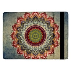 Folk Art Lotus Mandala Dirty Blue Red Samsung Galaxy Tab Pro 12 2  Flip Case