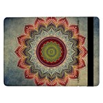 Folk Art Lotus Mandala Dirty Blue Red Samsung Galaxy Tab Pro 12.2  Flip Case Front