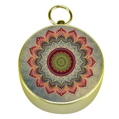 Folk Art Lotus Mandala Dirty Blue Red Gold Compasses