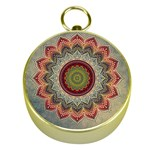 Folk Art Lotus Mandala Dirty Blue Red Gold Compasses Front