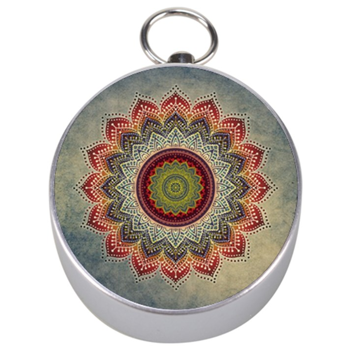 Folk Art Lotus Mandala Dirty Blue Red Silver Compasses