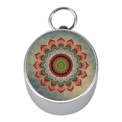 Folk Art Lotus Mandala Dirty Blue Red Mini Silver Compasses