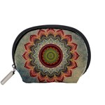 Folk Art Lotus Mandala Dirty Blue Red Accessory Pouches (Small)  Front
