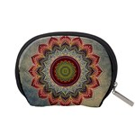 Folk Art Lotus Mandala Dirty Blue Red Accessory Pouches (Small)  Back