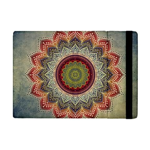 Folk Art Lotus Mandala Dirty Blue Red iPad Mini 2 Flip Cases