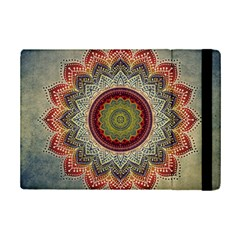 Folk Art Lotus Mandala Dirty Blue Red Ipad Mini 2 Flip Cases