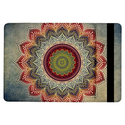 Folk Art Lotus Mandala Dirty Blue Red iPad Air Flip