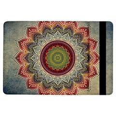 Folk Art Lotus Mandala Dirty Blue Red iPad Air Flip