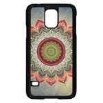Folk Art Lotus Mandala Dirty Blue Red Samsung Galaxy S5 Case (Black) Front