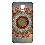 Folk Art Lotus Mandala Dirty Blue Red Samsung Galaxy S5 Back Case (White) Front